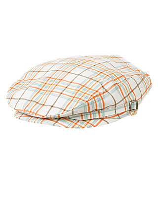 Boys Sunset Orange Plaid Plaid Cap at JanieandJack