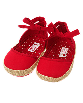 Cherry Red Bow Crib Espadrille at JanieandJack