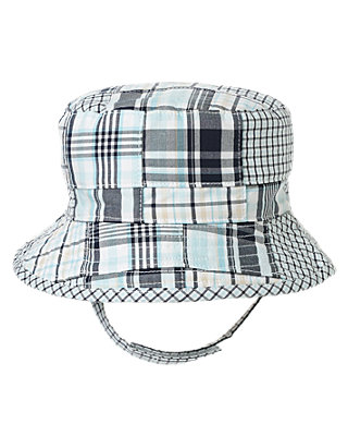Safari Blue Patchwork Plaid Patchwork Bucket Hat at JanieandJack