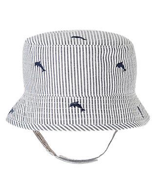 Chambray Stripe Dolphin Stripe Seersucker Hat at JanieandJack