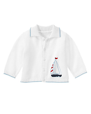 Pure White Sailboat Cardigan at JanieandJack