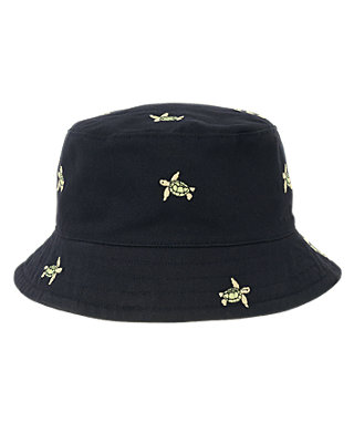 Boys Dark Navy Embroidered Turtle Bucket Hat at JanieandJack