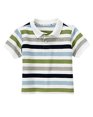 Afternoon Blue Stripe Stripe Polo Shirt at JanieandJack