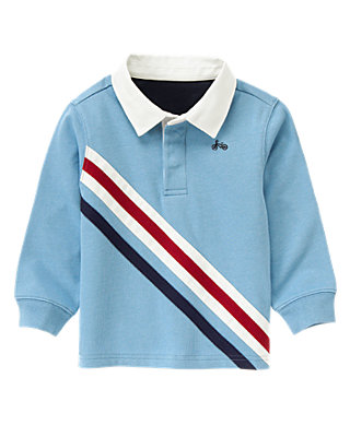 Collegiate Blue Pieced Stripe Rugby Shirt at JanieandJack