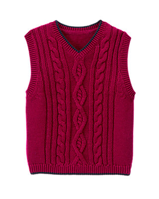 Bicycle Red Cable Sweater Vest at JanieandJack