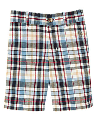 Collegiate Blue Plaid Plaid Short at JanieandJack