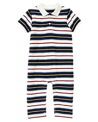 Boys Classic Navy Stripe Stripe Pique Polo One-Piece at JanieandJack