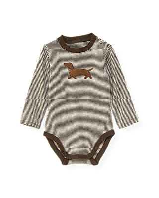 Coffee Stripe Dog Stripe Bodysuit at JanieandJack