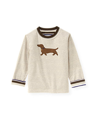 Sand Heather/Dark Purple Stripe Dog Reversible Tee at JanieandJack