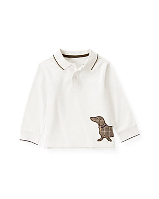 Boys Ivory Dog Polo Shirt at JanieandJack