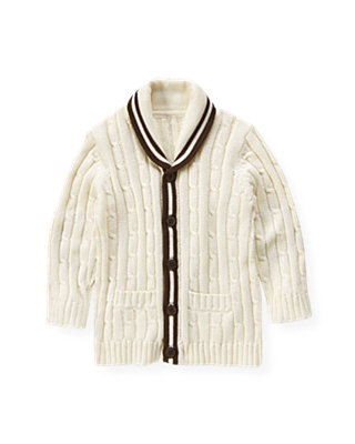 Classic Ivory Tipped Cable Cardigan at JanieandJack