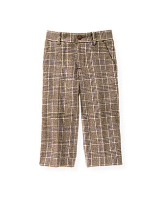 Soft Brown Plaid Glen Plaid Tweed Trouser at JanieandJack
