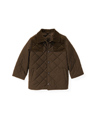 Coffee Quilted Barn Jacket at JanieandJack