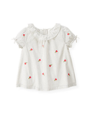 Jet Ivory Dot Rose Embroidered Pindot Top at JanieandJack