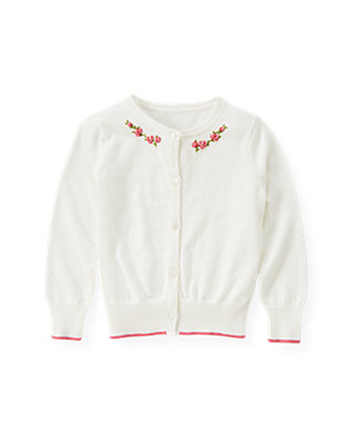 Jet Ivory Hand-Embroidered Rose Cardigan at JanieandJack