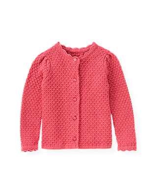 Rose Pink Scalloped Sweater Cardigan at JanieandJack