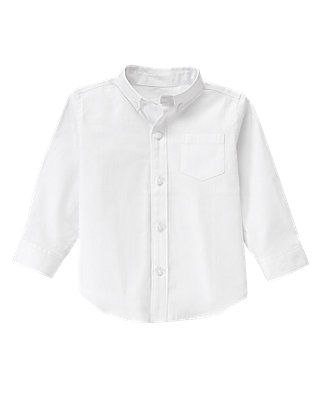 Pure White Herringbone Dress Shirt at JanieandJack