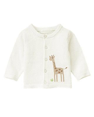 Baby Boy Jet Ivory Giraffe Cardigan at JanieandJack