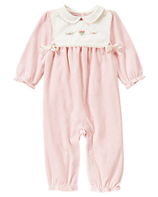 Baby Girl Blossom Pink Hand-Embroidered Bib Velour One-Piece at JanieandJack
