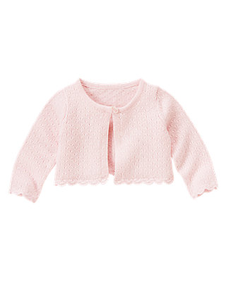 Baby Girl Blossom Pink Crochet Crop Cardigan at JanieandJack