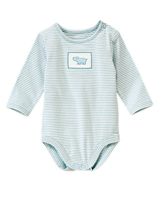 Baby Boy Hippo Blue Stripe Hippo Stripe Bodysuit at JanieandJack
