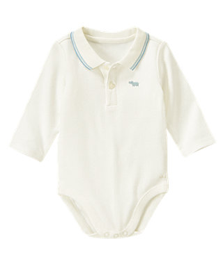 Baby Boy Jet Ivory Stripe Collar Polo Bodysuit at JanieandJack