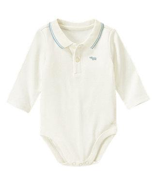 Baby Boy Jet Ivory Stripe Collar Polo Bodysuit at JanieandJack