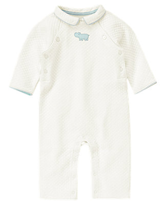 Baby Boy Jet Ivory Hippo Quilted One-Piece at JanieandJack