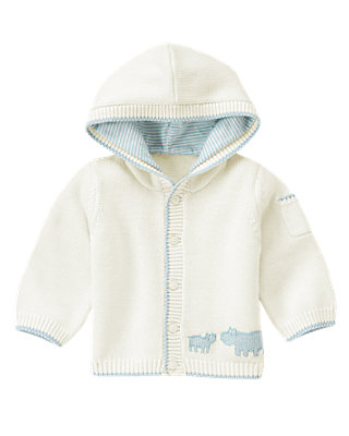 Jet Ivory Hippo Hooded Sweater Cardigan at JanieandJack