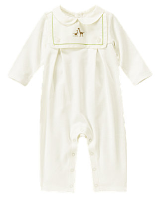 Baby Girl Jet Ivory Giraffe Bib One-Piece at JanieandJack
