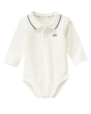 Baby Boy Jet Ivory Train Polo Bodysuit at JanieandJack