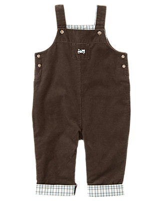 Baby Boy Chocolate Brown Plaid Cuffed Corduroy Overall at JanieandJack