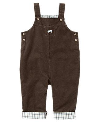 Baby Boy Chocolate Brown Plaid Cuffed Corduroy Overall at JanieandJack
