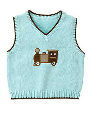 Train Blue Train Sweater Vest at JanieandJack