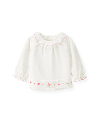 Baby Girl Jet Ivory Hand-Embroidered Voile Top at JanieandJack