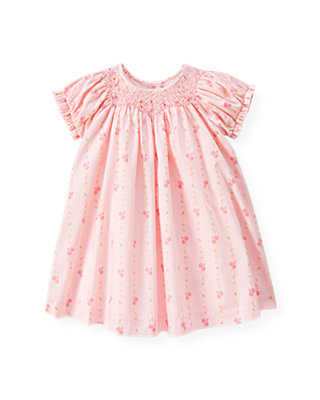 Baby Girl Soft Pink Hand-Smocked Wallpaper Floral Dress at JanieandJack