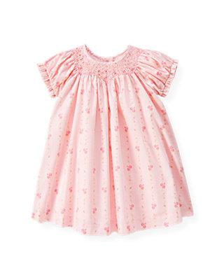 Baby Girl Soft Pink Hand-Smocked Wallpaper Floral Dress at JanieandJack