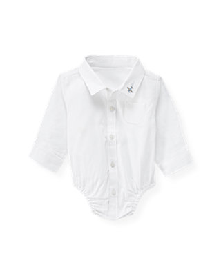 Baby Boy Jet Ivory Plane Dress Shirt Bodysuit at JanieandJack