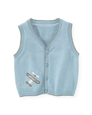 Soft Blue Plane Button Sweater Vest at JanieandJack