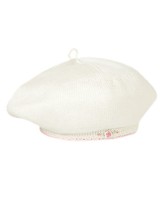 Baby Girl Jet Ivory Rose Blossom Sweater Beret at JanieandJack