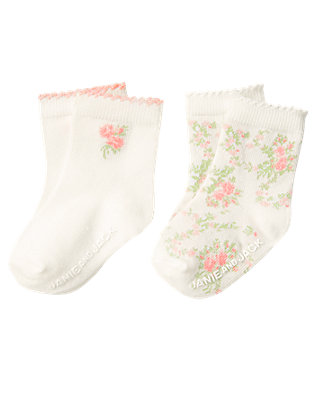 Baby Girl Jet Ivory Rose Blossom Sock Two-Pack at JanieandJack