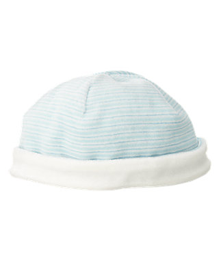 Baby Boy Hippo Blue Stripe Stripe Velour Beanie at JanieandJack