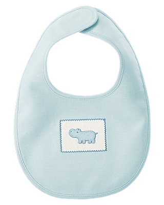 Baby Boy Hippo Blue Hippo Bib at JanieandJack