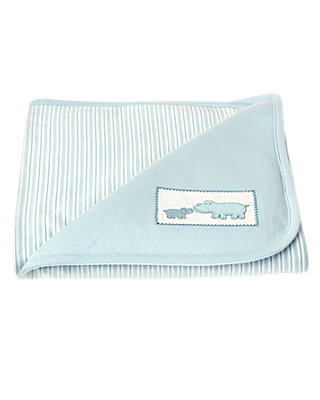 Hippo Blue Hippo Stripe Blanket at JanieandJack