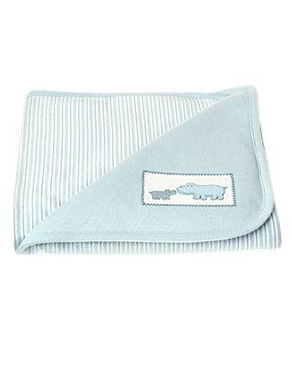 Baby Boy Hippo Blue Hippo Stripe Blanket at JanieandJack