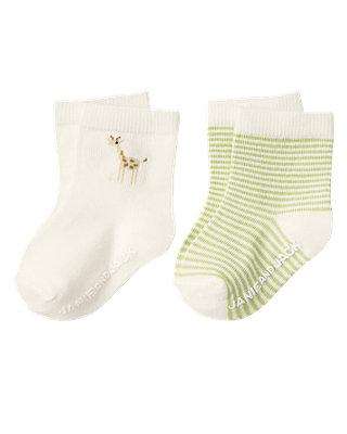 Baby Girl Jet Ivory Giraffe Sock Two-Pack at JanieandJack