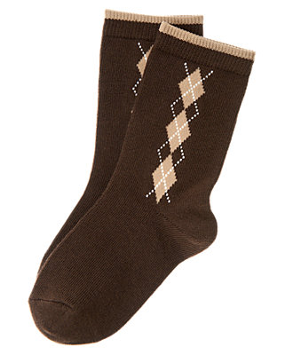 Boys Dark Brown Argyle Sock at JanieandJack