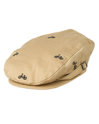 Boys Classic Khaki Embroidered Bicycle Cap at JanieandJack