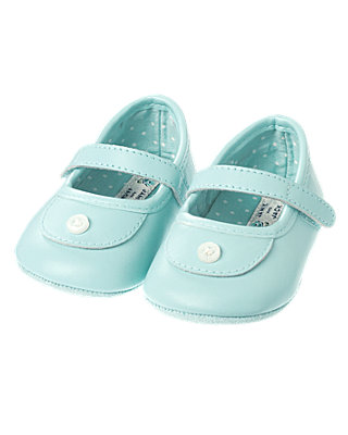 Antique Blue Button Leather Crib Shoe at JanieandJack