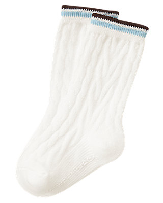 Jet Ivory Tipped Cable Sock at JanieandJack
